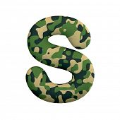Army letter S - Capital 3d Camo font isolated on white background. This alphabet is perfect for crea poster