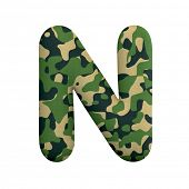 Army letter N - Uppercase 3d Camo font isolated on white background. This alphabet is perfect for cr poster