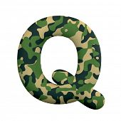 Army letter Q - large 3d Camo font isolated on white background. This alphabet is perfect for creati poster