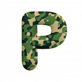 Army letter P - Capital 3d Camo font isolated on white background. This alphabet is perfect for crea poster