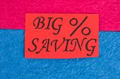 Red Card With Message Big Saving. Paper Card With Inscription Big Saving On Colorful Paper Backgroun poster
