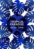 Tropical Paradise Leaf Vector Cover. Stylish Floral A4 Design. Exotic Tropic Plant Leaf Vector. Summ poster