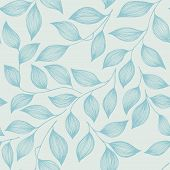 Wrapping Tea Leaves Organic Seamless Pattern Vector. Decorative Tea Plant Bush Blue Leaves Floral Fa poster