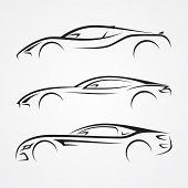 Elegance Car Sport Element Silhouette Style For Your Best Business Symbol. Car Shop Or Transport And poster
