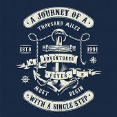 Vintage Marine And Nautical Label With Metal Anchor Rope And Inscriptions In Monochrome Style Isolat poster
