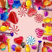 Candy Background Set Of Different Colors Of Candy, Candy, Sweets, Candy, Jelly Beans. Template, Post poster