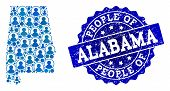 People Collage Of Blue Population Map Of Alabama State And Scratched Seal. Vector Seal With Scratche poster