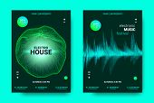 Electronic Music Poster. Sound Equalizer Vector Design. Amplitude Of Wave Lines. Futuristic Flyer Fo poster
