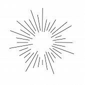 Vintage Sunburst Explosion Handdrawn Design Element Fireworks Black Rays poster