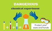 Dangerous Chemical Experiment Concept Banner. Flat Illustration Of Dangerous Chemical Experiment Con poster