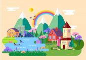 Village Panorama At Spring Or Nature Blossom Scenery At Rural Town With House And Barn, Church, Lake poster