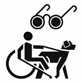 Blind Man Wheelchair Dog Icon. Simple Illustration Of Blind Man Wheelchair Dog Icon For Web Design I poster