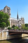 Notre Dame De Paris Cathedral - Most Beautiful Cathedral In Paris, View From The River Seine, France poster