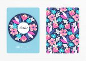 Cover Design With Floral Pattern. Hand Drawn Creative Flowers. Colorful Artistic Background With Blo poster