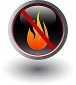 Постер, плакат: Огонь запрещено знак