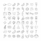 Cute Funny Girl Teenager Line Icon Set, Fashion Cute Teen And Princess Lined Icons - Pizza, Unicorn, poster
