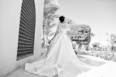 Fashion. Wedding Fashion Concept. Fashion Model On Wedding Dress. Bride In Fashion Dress For Wedding poster