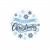 Christmas Handwriting Lettering, Vector Illustration. Blue Xmas Design With Handwriting Text And Sno poster