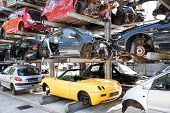 Recycling Of Old,used, Wrecked Cars. Dismantling For Parts At Scrap Yards poster