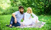 Family Enjoy Relax Nature Background. Couple With Laptop Relax Natural Environment. Couple Bearded M poster