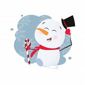 Funny Snowman Poster Design. Drawing Of Snowman In Black Cylinder Hat Holding Candy Cane. Can Be Use poster