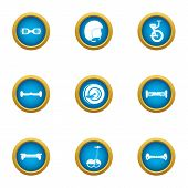 Two Wheeled Icons Set. Flat Set Of 9 Two-wheeled Icons For Web Isolated On White Background poster