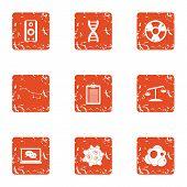 Chemical Improvement Icons Set. Grunge Set Of 9 Chemical Improvement Icons For Web Isolated On White poster