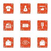 Ad Money Icons Set. Grunge Set Of 9 Ad Money Icons For Web Isolated On White Background poster