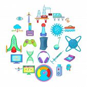 High Tech Industry Technology Icons Set. Cartoon Set Of 25 High Tech Industry Icons For Web Isolated poster