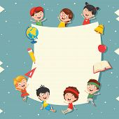 Funny And Happy Kids Holding Blank Placard poster