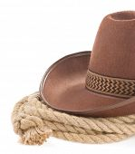 stock photo of bareback  - brown cowboy hat and rope isolated on white background - JPG