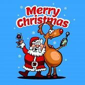 Merry Christmas Happy Christmas Companions. Illustration In Cartoon Style. poster