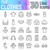 Clothes Line Icon Set, Cloth Symbols Collection, Vector Sketches, Logo Illustrations, Apparel Signs  poster
