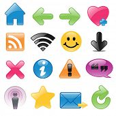 Glossy web symbols including RSS feed, Podcast, Wi-Fi and Favorites.