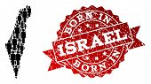 People Crowd Collage Of Black Population Map Of Israel And Scratched Stamp. Vector Red Imprint With  poster