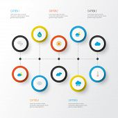 Climate Icons Flat Style Set With Cloudy, Wind, Sunny And Other Crescent Elements. Isolated Vector I poster