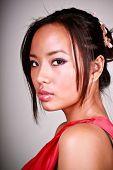 foto of asian woman  - Closeup portrait of a young beautiful asian woman - JPG