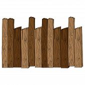 Wooden Fence. Vector Of A Fence Made Of Wooden Planks. Hand Drawn Board Of Wooden Planks. poster