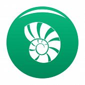 Reef Shell Icon. Simple Illustration Of Reef Shell Vector Icon For Any Design Green poster
