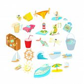 Sea Trip Icons Set. Cartoon Set Of 25 Sea Trip Vector Icons For Web Isolated On White Background poster
