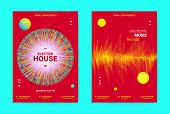 Electronic Festival Music Flyer. Sound Poster With Wave Lines And Round For Dj Promotion. Movement A poster