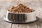 Dry pet food. Dry kibble food in metal bowl. poster