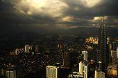 stock photo of petronas twin towers  - view breathtaking of Kuala Lumpur city from KL Tower Malaysia - JPG