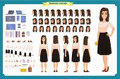 Pretty Female Office Employee Character Creation Set. Full Length, Different Views, Emotions Gesture poster