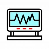 Vital Sign On Screen Monitor, Filled Outline Icon. poster