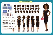 Black Girl In Evening Dress Character Creation Set. Party Woman In Black Trendy Luxury Gown. Full Le poster