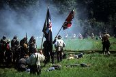 image of rebs  - SEATTLE - JUL 10 - Confederates volley fire on advancing Union soldiersCivil War battle reenactment on July 10 1996 near Seattle.