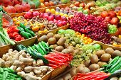 stock photo of stall  - Fruits and vegetables at a farmer - JPG