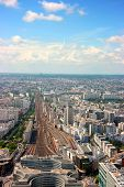 picture of gare  - Aerial vertical view of Montparnasse railway station Paris - JPG