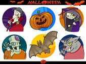 stock photo of wolfman  - Cartoon Illustration of Halloween Themes Vampire Zombie Witch Werewolf Pumpkin and Bat Funny Set - JPG